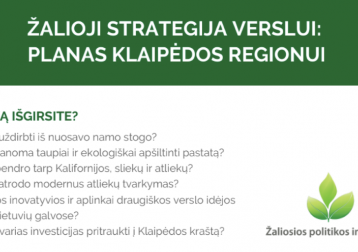 "Konferencija ""ŽALIOJI STRATEGIJA VERSLUI: PLANAS KLAIPĖDOS REGIONUI"""